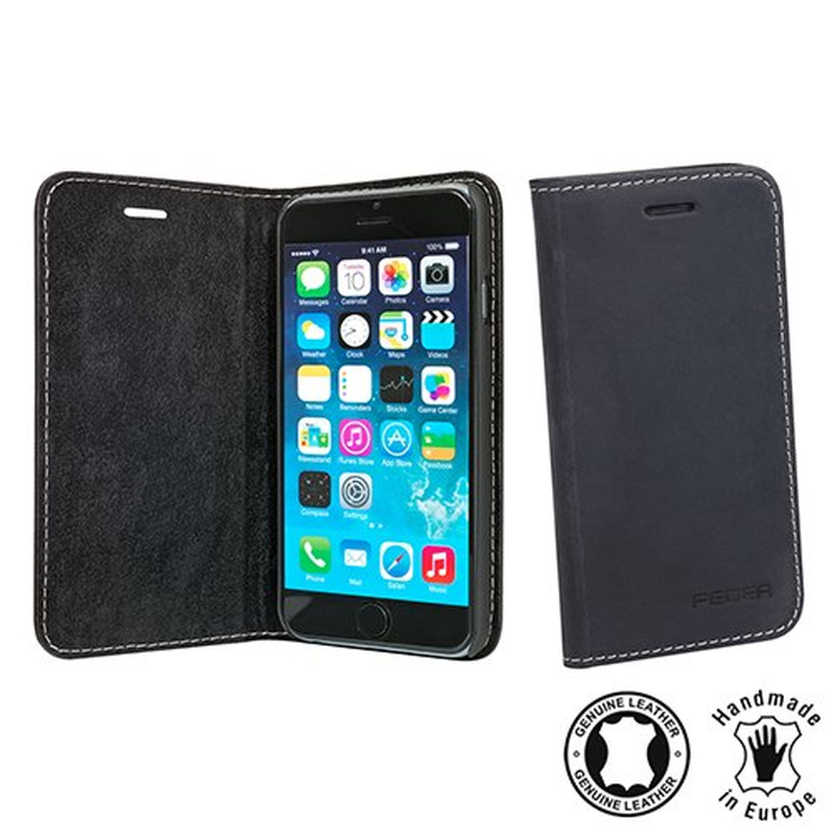 Pedea Echt Boston Tasche für Apple iPhone 6 anthrazit