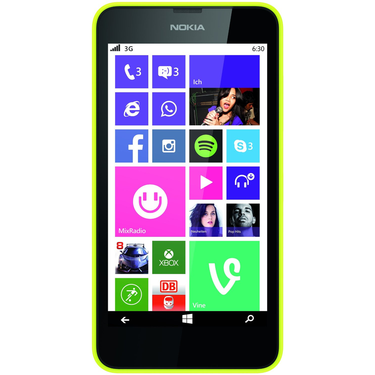 Nokia Lumia 630 Single SIM Smartphone gelb #gut