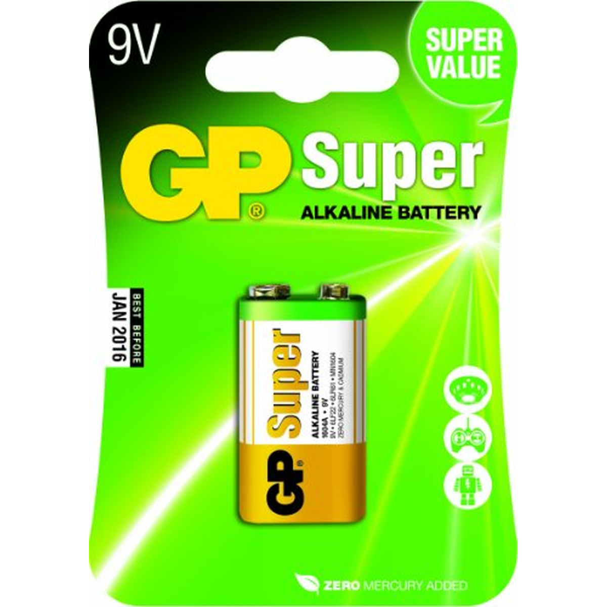 GP Batterie Super Alkaline, 6LR61,9V-Block,Blister