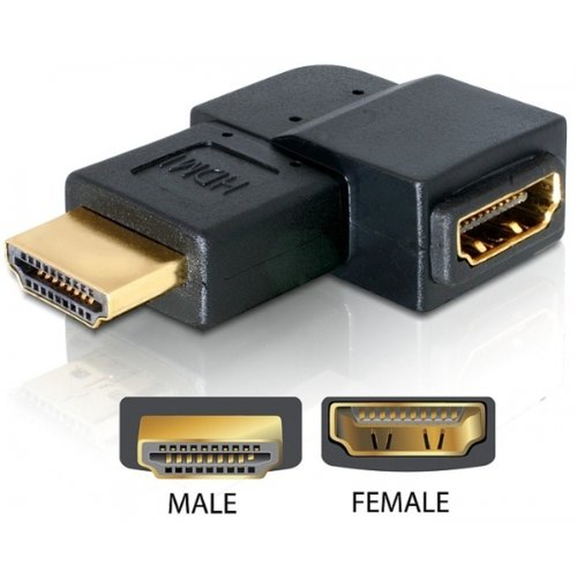 DeLOCK Adapter HDMI Stecker > HDMI Buchse 90°links
