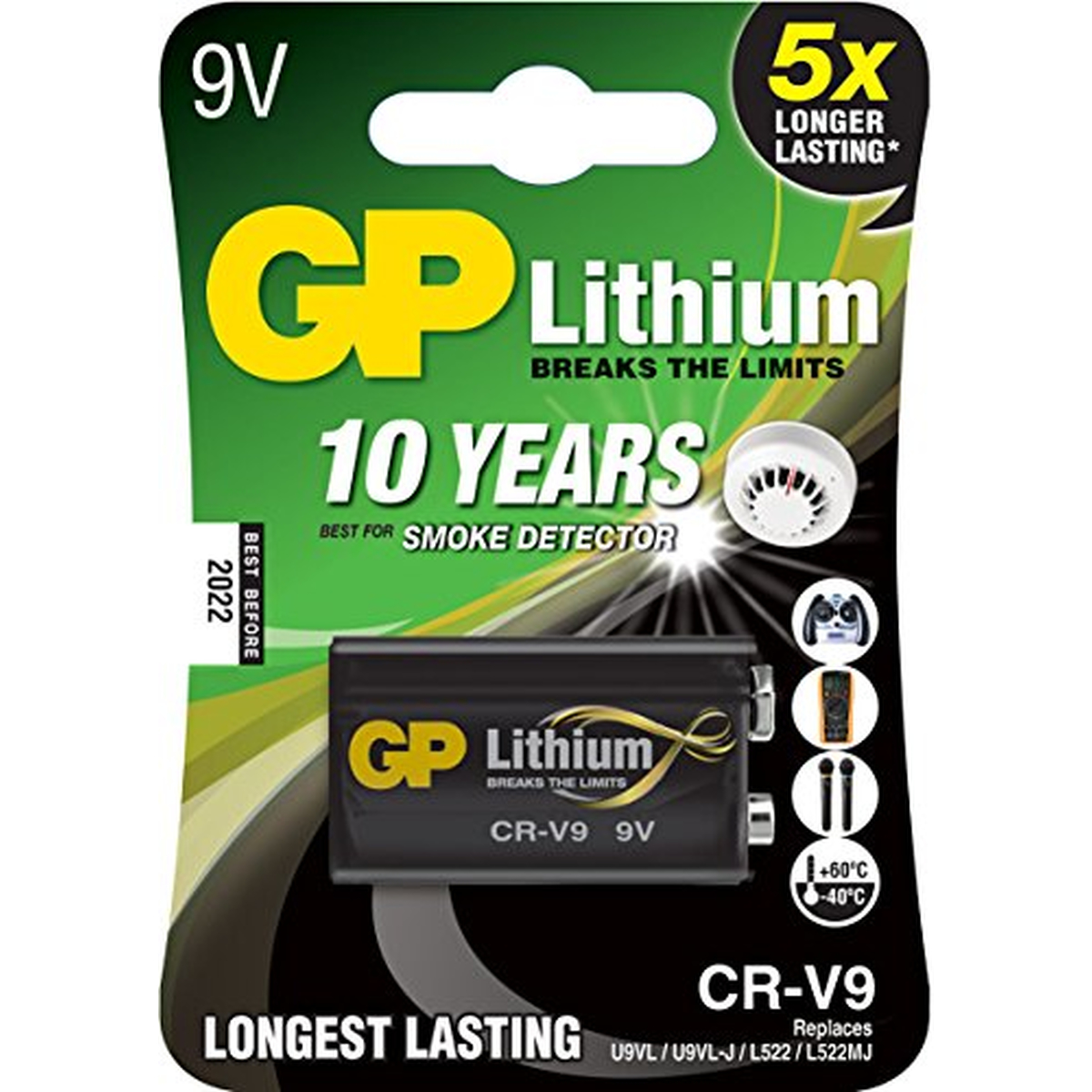 GP Batterie Lithium 9V-Block, E-Block, CR-V9