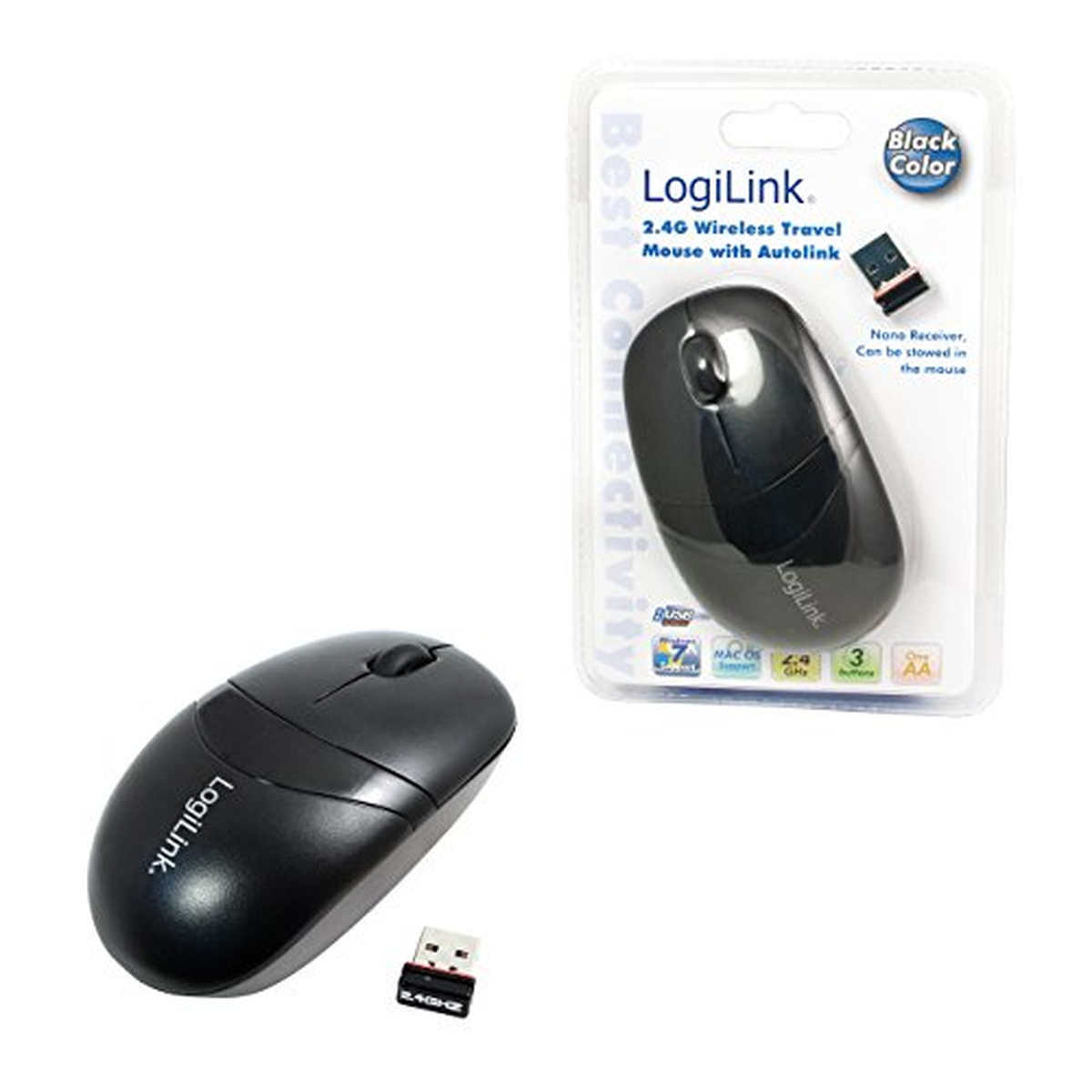 LogiLink Maus Optical Wireless 2.4 GHz Mini schw.