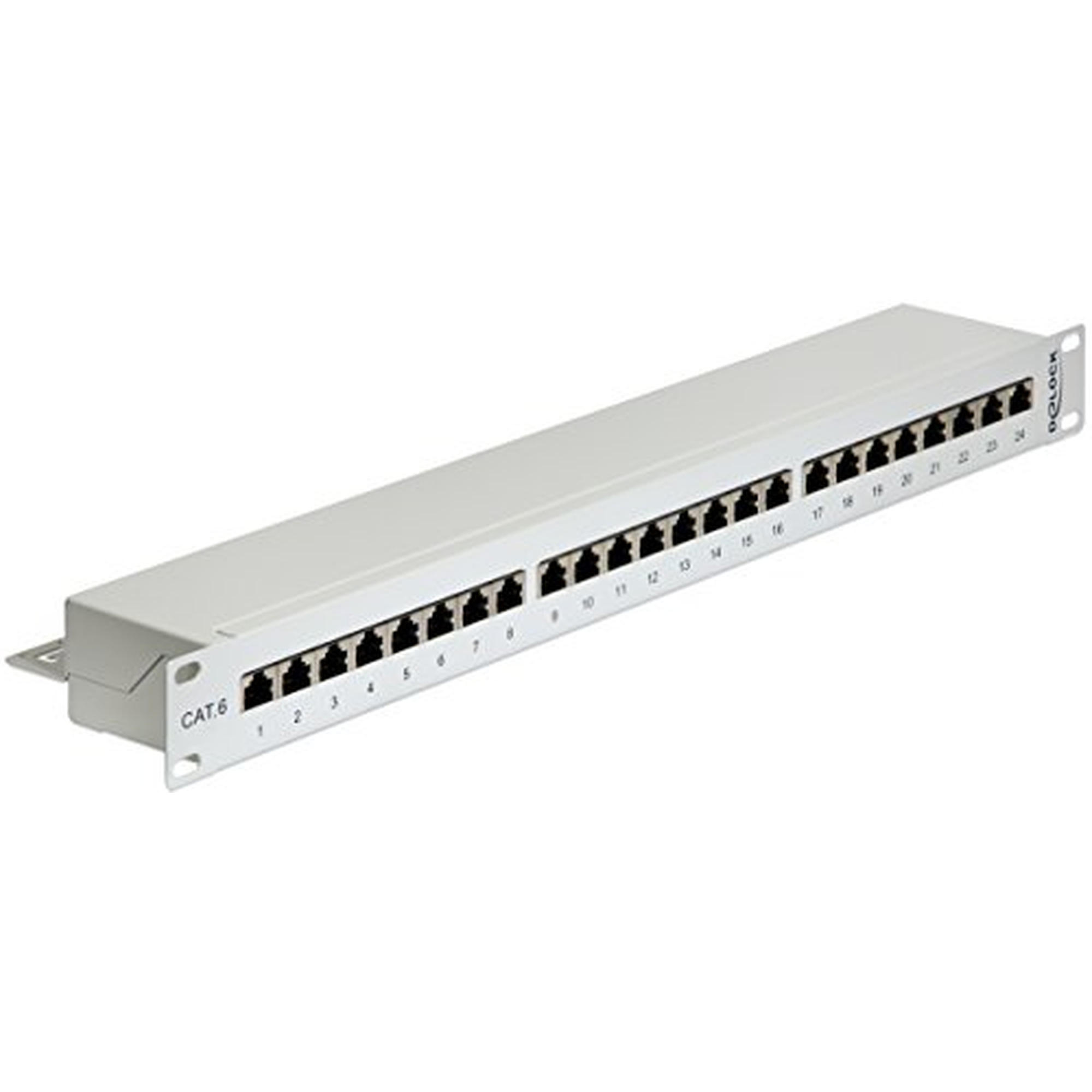 DeLOCK 19 Patchpanel 24 Port Cat.6, grau